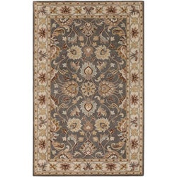 Hand-tufted AriseaGray Traditional Border Wool Rug (2' x 3')
