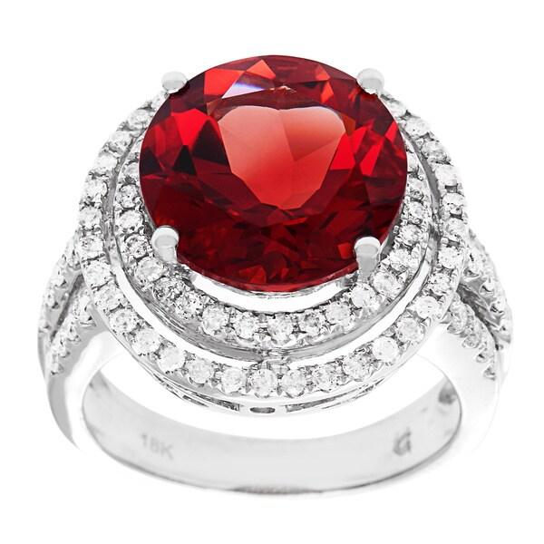 D'sire 18k White Gold Red Labradorite and 3/4ct TDW Diamond Ring (H-I, I1-I2)