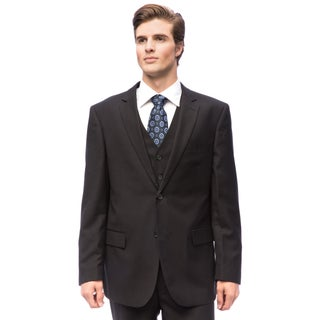 Men's Black Wool/ Silk Vested Suit (More options available)