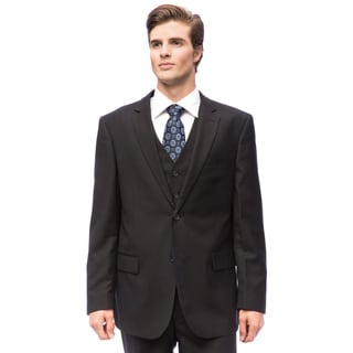 Men's Black Wool/ Silk Vested Suit