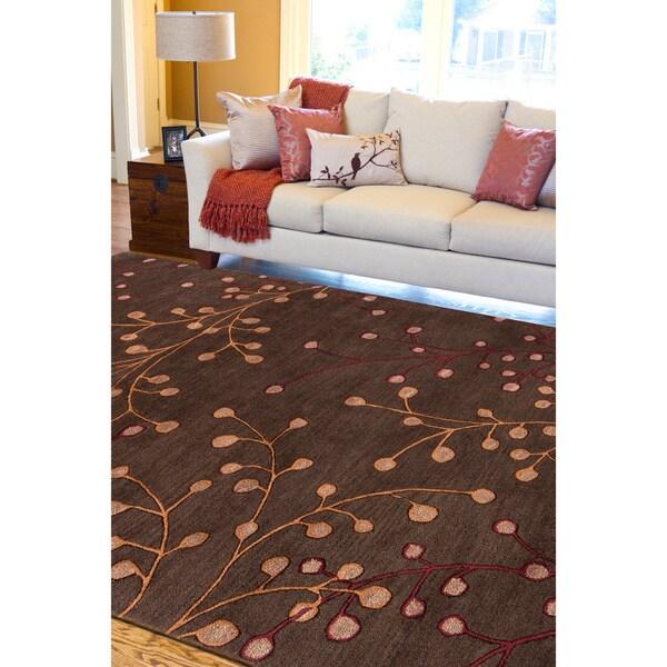 Hand-tufted 'Web' Chocolate Wool Area Rug - 8' X 11'