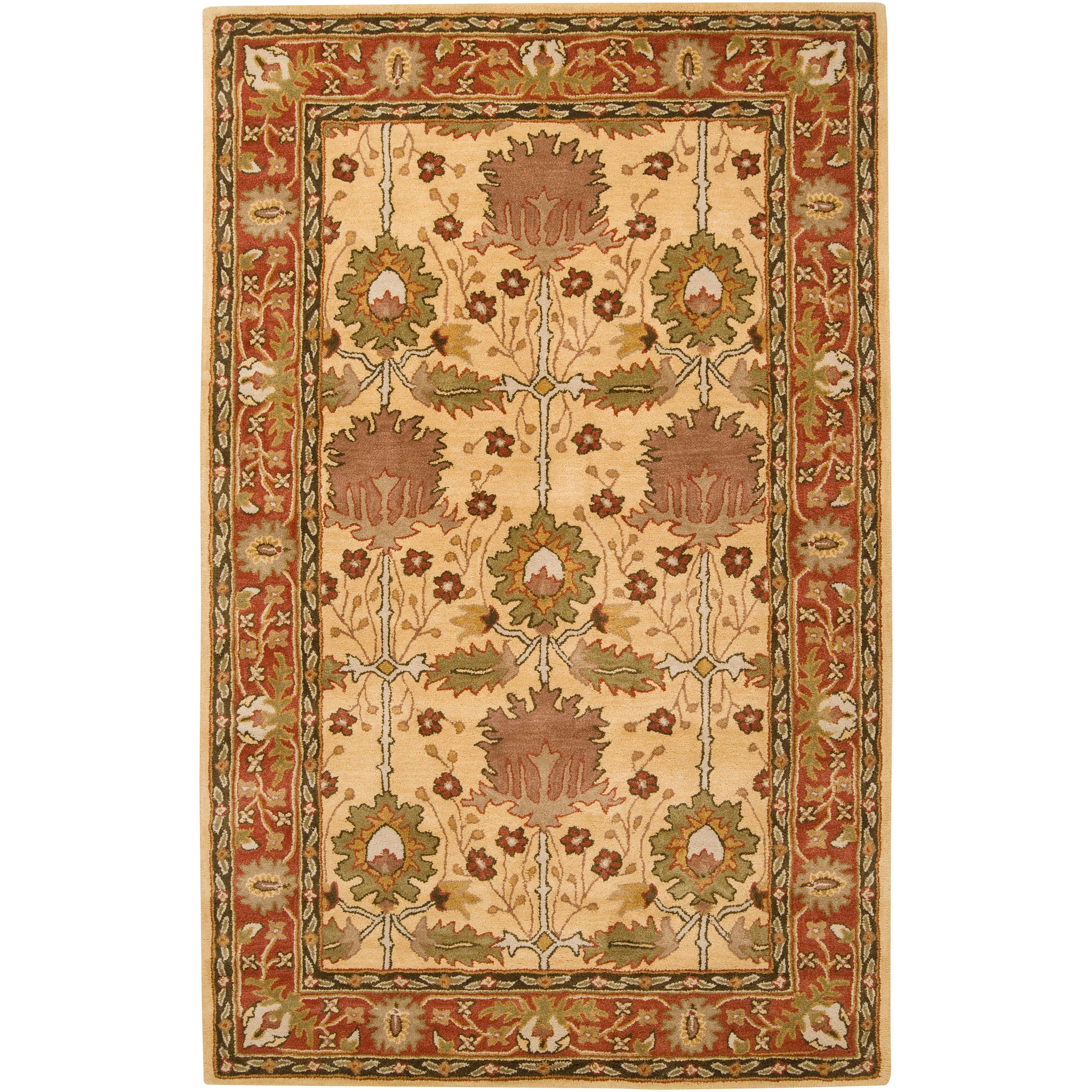 Hand-tufted Gold Bordered Novelty Pipe New Zealand Wool Rug (5' x 8')