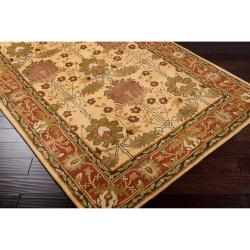 Hand-tufted Gold Bordered Novelty Pipe New Zealand Wool Rug (5' x 8') - Thumbnail 1