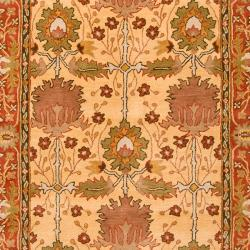 Hand-tufted Gold Bordered Novelty Pipe New Zealand Wool Rug (5' x 8') - Thumbnail 2