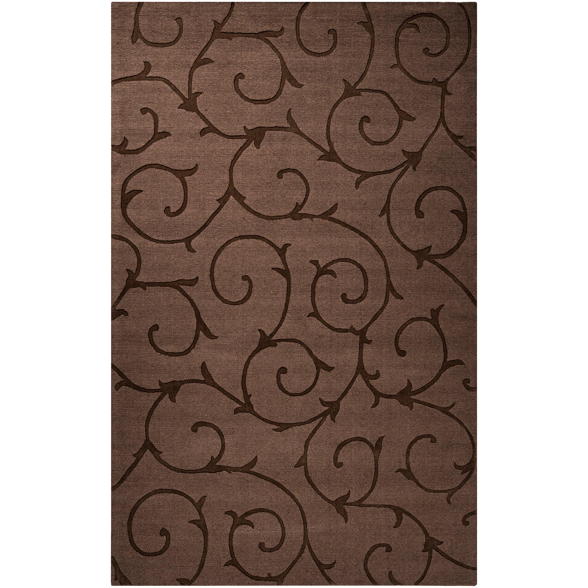 Handcrafted Dark Brown Solid Floral Bristol Wool Rug (5' x8')