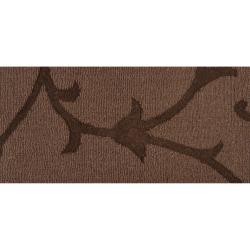 Handcrafted Dark Brown Solid Floral Bristol Wool Rug (5' x8') - Thumbnail 1