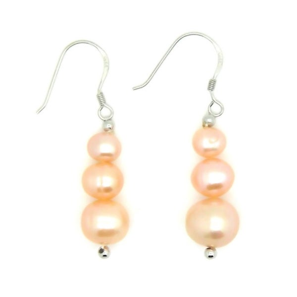 Pearlz Ocean Orange Freshwater Pearl Journey Earrings