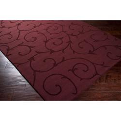 ... Hand Crafted Burgundy Solid Bristol Wool Rug (8u0027 X 10u0027)