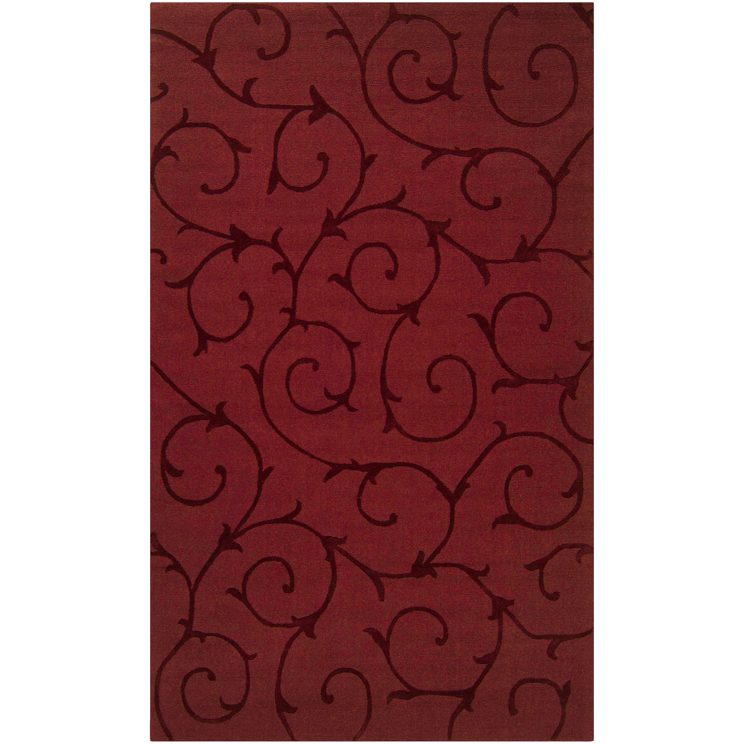 Hand-crafted Red Solid Bristol Wool Rug (8' x 10')
