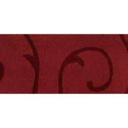 Hand-crafted Red Solid Bristol Wool Rug (8' x 10') - Thumbnail 1