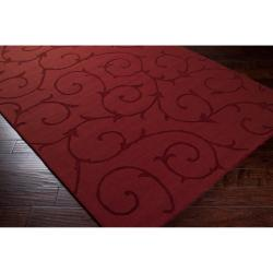 Hand-crafted Red Solid Bristol Wool Rug (8' x 10') - Thumbnail 2