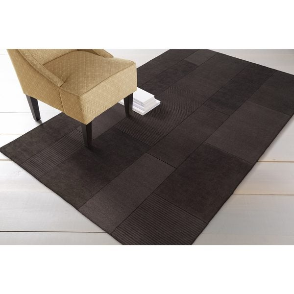 Hand-crafted Solid Casual Dark Brown Minima Wool Area Rug - 5' x 8'