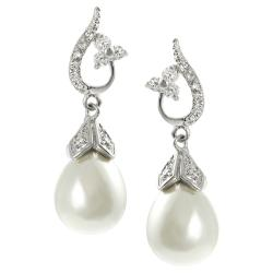 Journee Silvertone Faux Pearl and Cubic Zirconia Dangle Earrings