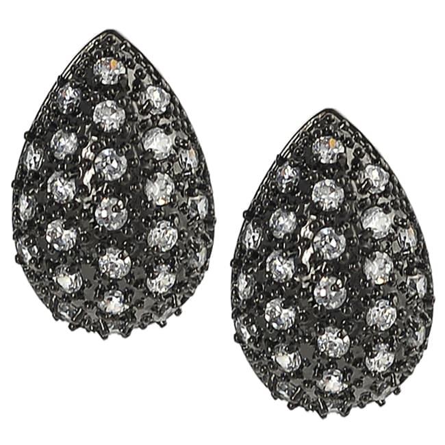 Journee Black Rhodium Pave-set Cubic Zirconia Earrings