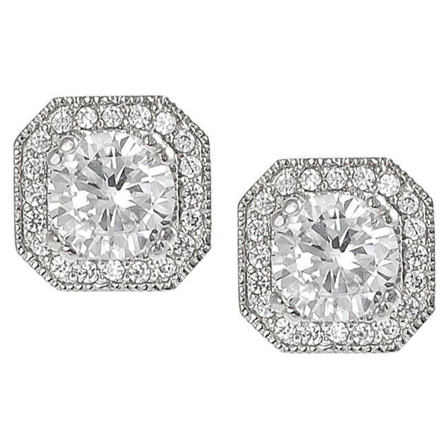 Journee Silvertone Round and Cushion-cut Cubic Zirconia Stud Earrings