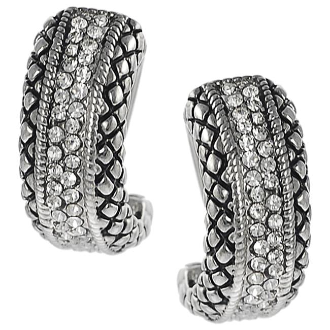 Journee Silvertone Cubic Zirconia Hoop-style Earrings