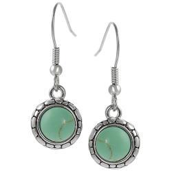Silvertone Created Turquoise Pebble Design Dangle Earrings