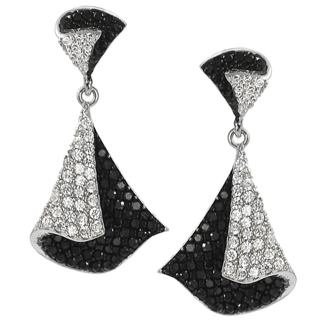 Journee Silvertone Pave-set Black and White Cubic Zirconia Earrings