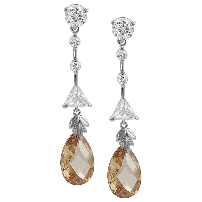 Journee Collection  Silvertone White and Orange Cubic Zirconia Dangle Earrings
