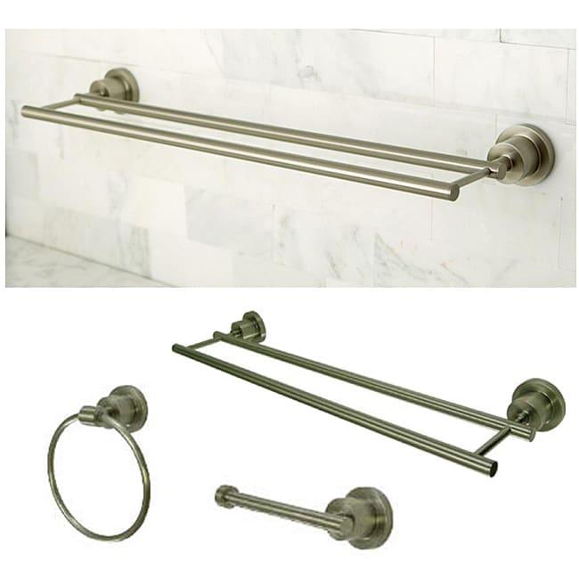 Satin Nickel Three Piece Bathroom Accessory Set With Dual Towel Bar Free Shipping Today