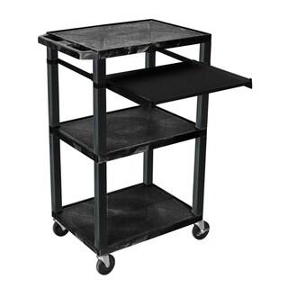 H.Wilson 42 Inch High Black Open Shelf Presentation Stand