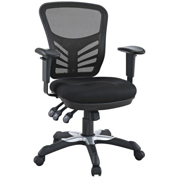 Modway Articulate Black Mesh Office Chair with Dual-caster Wheels, Model W-757-BLK