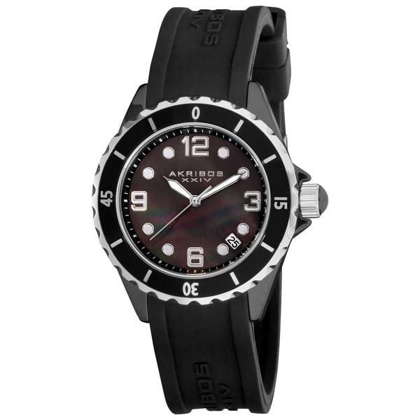 Akribos XXIV Women's Ceramic Black Strap Watch with FREE Bangle