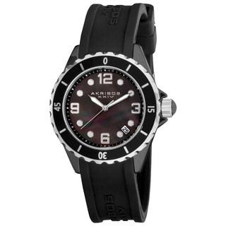 Akribos XXIV Women's Ceramic Black Strap Watch