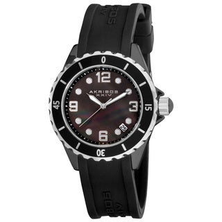 Akribos XXIV Women's Ceramic Black Strap Watch