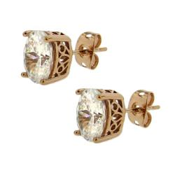 14k Rose Goldplated Clear Cubic Zirconia Oval Stud Earrings