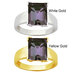 10k Gold Emerald-cut Synthetic Alexandrite Solitaire Ring
