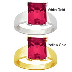 10k Gold Emerald-cut Synthetic Ruby Solitaire Ring