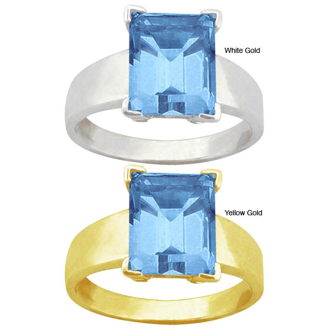 10k Gold Synthetic Blue Zircon Solitaire Ring