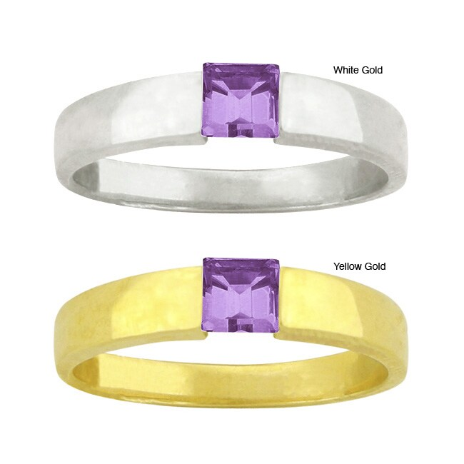 10k Gold Synthetic Amethyst Solitaire Ring