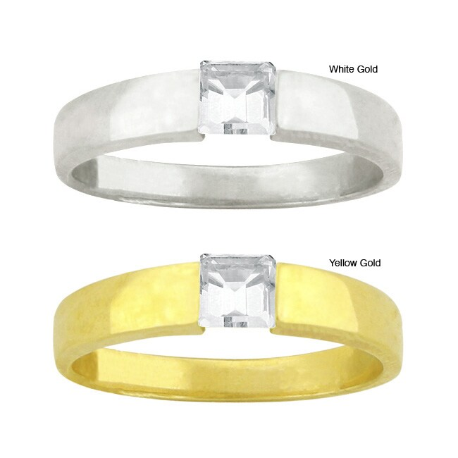 10k Gold Synthetic White Zircon Contemporary Ring