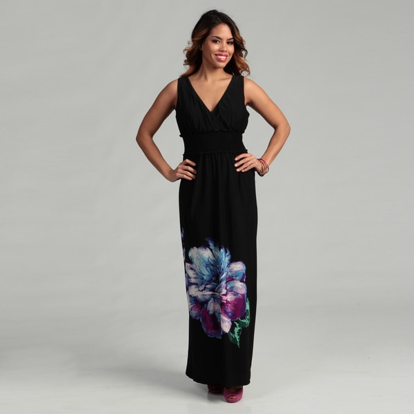 Glamour Women's Black/ Purple Shirred Maxi Dress FINAL SALE