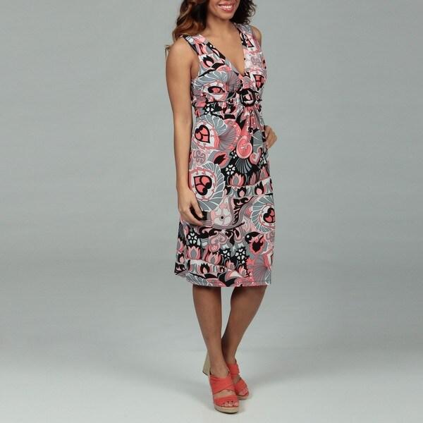Glamour Women's Coral/ Black Buckle Dress FINAL SALE