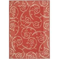 Safavieh Oasis Scrollwork Red/ Natural Indoor/ Outdoor Rug - 5'3 x 7'7