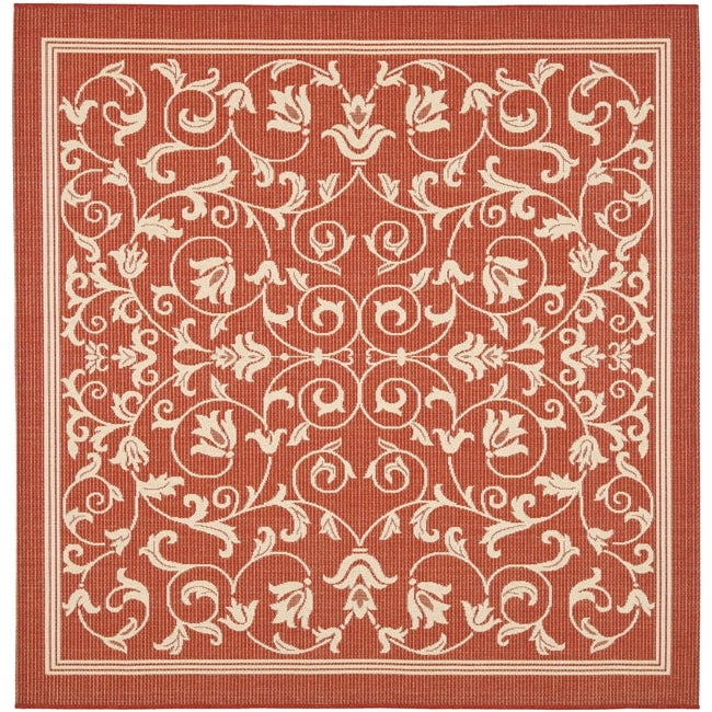 Safavieh Resorts Scrollwork Red Natural Indoor Outdoor Rug U Square With Square  Outdoor Rugs.