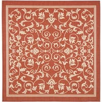 "Safavieh Resorts Scrollwork Red/ Natural Indoor/ Outdoor Rug - 6'7"" x 6'7"" square"