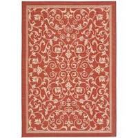 Safavieh Resorts Scrollwork Red/ Natural Indoor/ Outdoor Rug - 9' x 12'