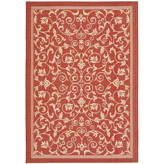 Safavieh Resorts Scrollwork Red/ Natural Indoor/ Outdoor Rug (8' x 11'2) - Thumbnail 0