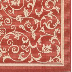 Safavieh Resorts Scrollwork Red/ Natural Indoor/ Outdoor Rug (8' x 11'2) - Thumbnail 1