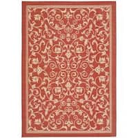 Safavieh Resorts Scrollwork Red/ Natural Indoor/ Outdoor Rug - 8' x 11'2