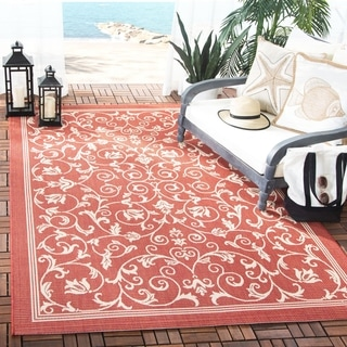 Safavieh Resorts Scrollwork Red/ Natural Indoor/ Outdoor Rug (5'3 x 7'7)