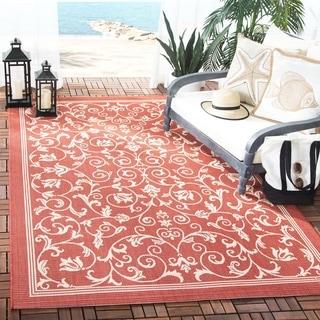 Safavieh Resorts Scrollwork Red/ Natural Indoor/ Outdoor Rug (5'3 x 7'7)