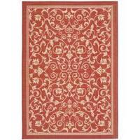 Safavieh Resorts Scrollwork Red/ Natural Indoor/ Outdoor Rug - 4' x 5'7
