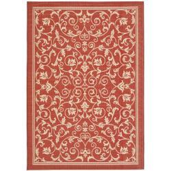Safavieh Resorts Scrollwork Red/ Natural Indoor/ Outdoor Rug (2'7 x 5')