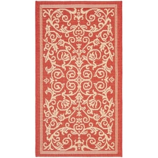 Safavieh Resorts Scrollwork Red/ Natural Indoor/ Outdoor Rug (2'7 x 5')