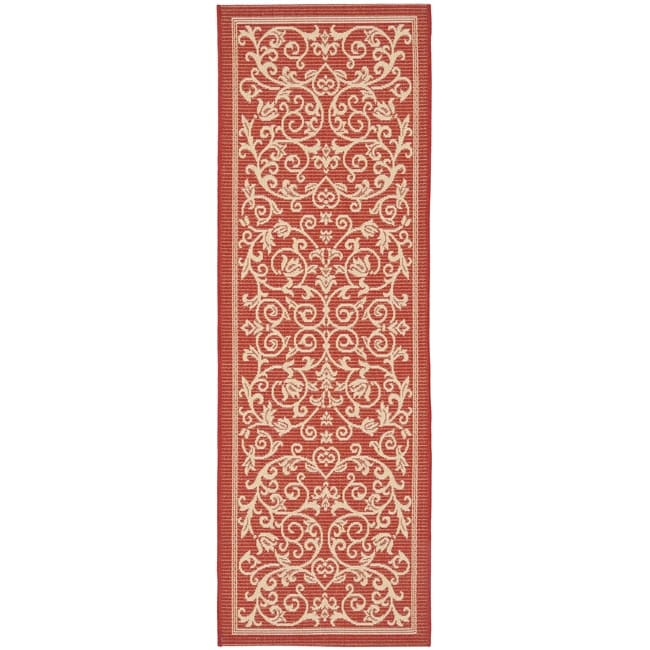 Safavieh Resorts Scrollwork Red/ Natural Indoor/ Outdoor Runner Rug (2'4 x 9'11)